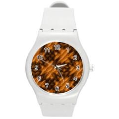Background Texture Pattern Round Plastic Sport Watch (m)