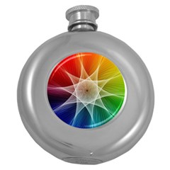 Abstract Star Pattern Structure Round Hip Flask (5 Oz)