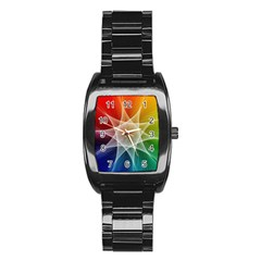 Abstract Star Pattern Structure Stainless Steel Barrel Watch