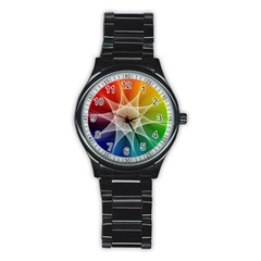 Abstract Star Pattern Structure Stainless Steel Round Watch