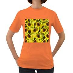 Sun Flower Pattern Background Women s Dark T Shirt
