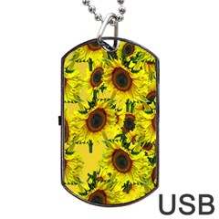 Sun Flower Pattern Background Dog Tag Usb Flash (one Side)