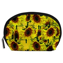 Sun Flower Pattern Background Accessory Pouches (large)