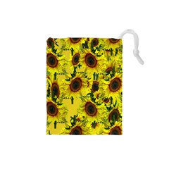 Sun Flower Pattern Background Drawstring Pouches (small)