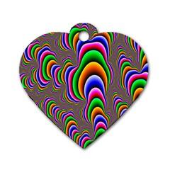 Fractal Background Pattern Color Dog Tag Heart (one Side)