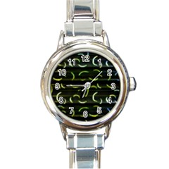 Abstract Dark Blur Texture Round Italian Charm Watch