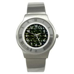 Abstract Dark Blur Texture Stainless Steel Watch
