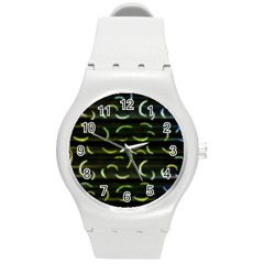 Abstract Dark Blur Texture Round Plastic Sport Watch (m)