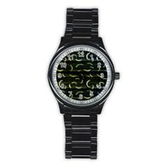 Abstract Dark Blur Texture Stainless Steel Round Watch