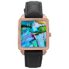 Abstract Painting Art Rose Gold Leather Watch
