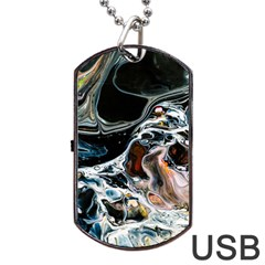 Abstract Flow River Black Dog Tag Usb Flash (one Side)