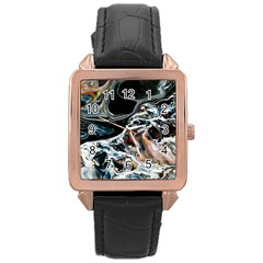 Abstract Flow River Black Rose Gold Leather Watch
