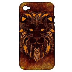 Lion Wild Animal Abstract Apple Iphone 4/4s Hardshell Case (pc+silicone)