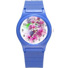 Blackberry Fruit Art Abstract Round Plastic Sport Watch (s)