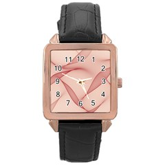 Background Light Glow Abstract Art Rose Gold Leather Watch