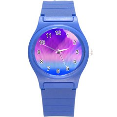Background Art Abstract Watercolor Round Plastic Sport Watch (s)