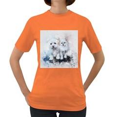 Cat Dog Cute Art Abstract Women s Dark T Shirt