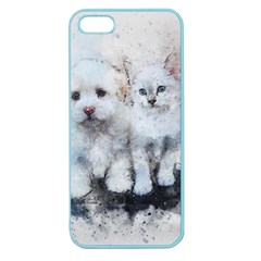 Cat Dog Cute Art Abstract Apple Seamless Iphone 5 Case (color)