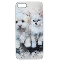 Cat Dog Cute Art Abstract Apple Iphone 5 Hardshell Case With Stand