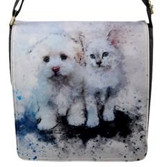 Cat Dog Cute Art Abstract Flap Messenger Bag (s)