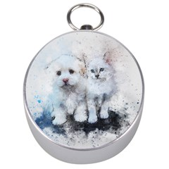 Cat Dog Cute Art Abstract Silver Compasses