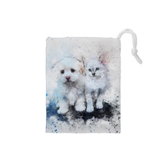 Cat Dog Cute Art Abstract Drawstring Pouches (small)
