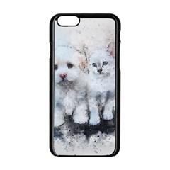 Cat Dog Cute Art Abstract Apple Iphone 6/6s Black Enamel Case