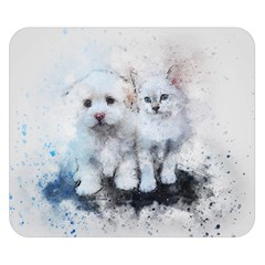 Cat Dog Cute Art Abstract Double Sided Flano Blanket (small)