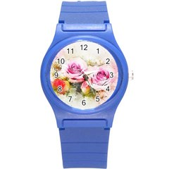 Flower Roses Art Abstract Round Plastic Sport Watch (s)