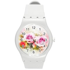 Flower Roses Art Abstract Round Plastic Sport Watch (m)