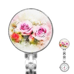 Flower Roses Art Abstract Stainless Steel Nurses Watch