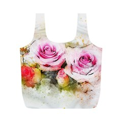 Flower Roses Art Abstract Full Print Recycle Bags (m)