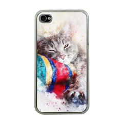 Cat Kitty Animal Art Abstract Apple Iphone 4 Case (clear)