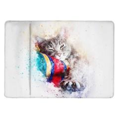 Cat Kitty Animal Art Abstract Samsung Galaxy Tab 10 1  P7500 Flip Case
