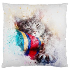 Cat Kitty Animal Art Abstract Standard Flano Cushion Case (one Side)