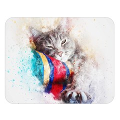 Cat Kitty Animal Art Abstract Double Sided Flano Blanket (large)