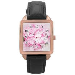 Flower Pink Art Abstract Nature Rose Gold Leather Watch