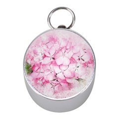 Flower Pink Art Abstract Nature Mini Silver Compasses