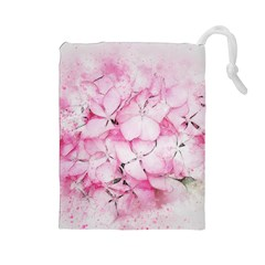 Flower Pink Art Abstract Nature Drawstring Pouches (large)