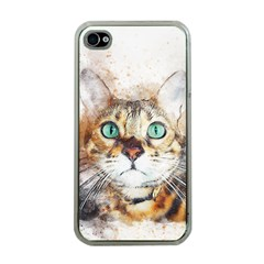 Cat Animal Art Abstract Watercolor Apple Iphone 4 Case (clear)