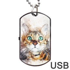 Cat Animal Art Abstract Watercolor Dog Tag Usb Flash (two Sides)