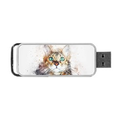 Cat Animal Art Abstract Watercolor Portable Usb Flash (two Sides)