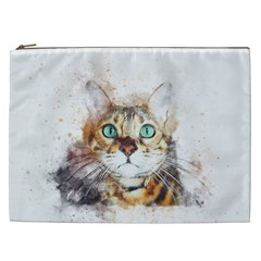 Cat Animal Art Abstract Watercolor Cosmetic Bag (xxl)