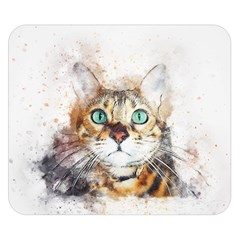 Cat Animal Art Abstract Watercolor Double Sided Flano Blanket (small)