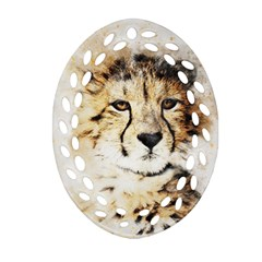 Leopard Animal Art Abstract Oval Filigree Ornament (two Sides)
