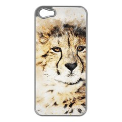 Leopard Animal Art Abstract Apple Iphone 5 Case (silver)