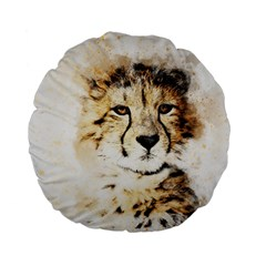 Leopard Animal Art Abstract Standard 15  Premium Flano Round Cushions