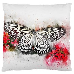 Butterfly Animal Insect Art Large Flano Cushion Case (one Side)