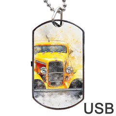 Car Old Art Abstract Dog Tag Usb Flash (two Sides)