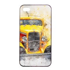Car Old Art Abstract Apple Iphone 4/4s Seamless Case (black)
